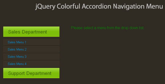 jQuery Colorful Accordion Navigation Menu Plugin | jQuery and