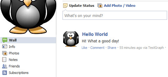 Post Message to User Wall from Your Facebook App | jQuery