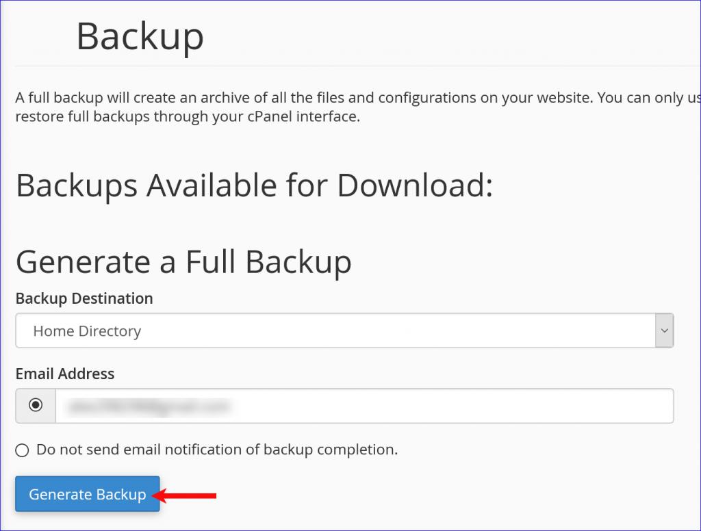 cPanel full backup tutorial